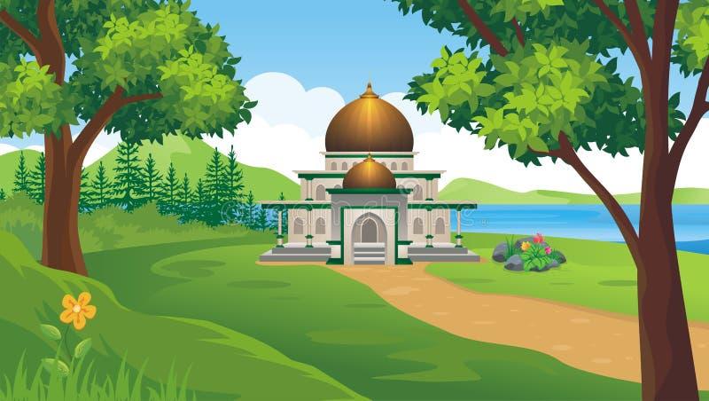 Μουσουλμανικό τέμενος κινούμενων σχεδίων στο λόφο ελεύθερη απεικόνιση δικαιώματος
