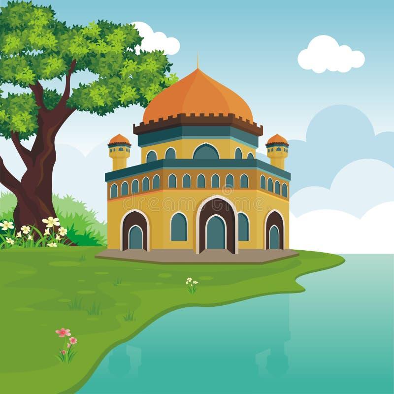 Μουσουλμανικό τέμενος κινούμενων σχεδίων στο λόφο διανυσματική απεικόνιση