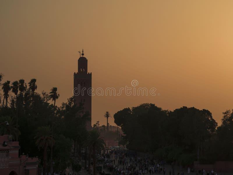 Μουσουλμανικό τέμενος Koutoubia στο medina Μαρόκο του Μαρακές στοκ εικόνες