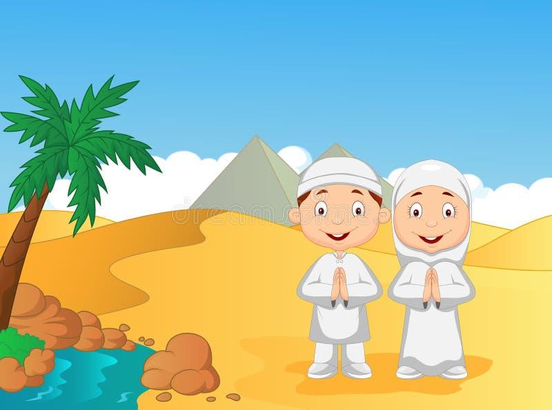 Μουσουλμανικά παιδιά κινούμενων σχεδίων με το υπόβαθρο πυραμίδων διανυσματική απεικόνιση