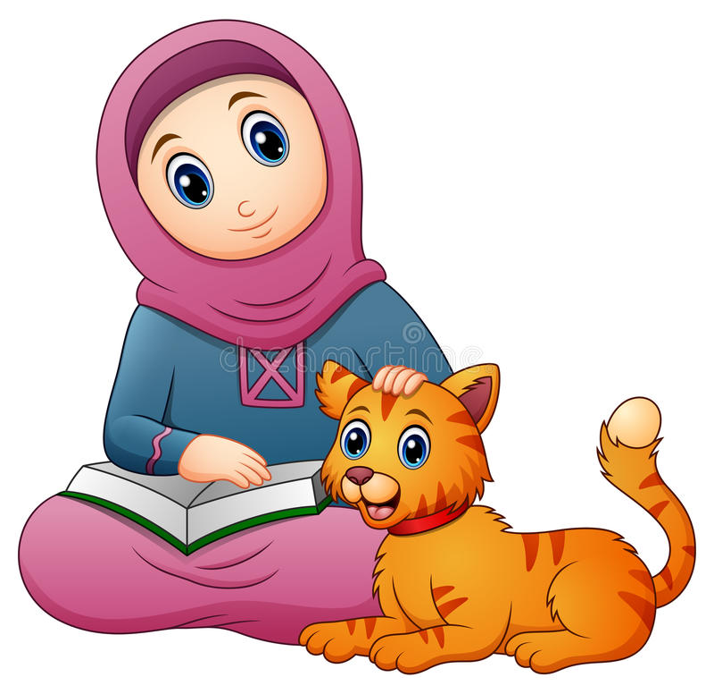 Μουσουλμανικό βιβλίο εκμετάλλευσης κινούμενων σχεδίων κοριτσιών και χαριτωμένη γάτα ελεύθερη απεικόνιση δικαιώματος