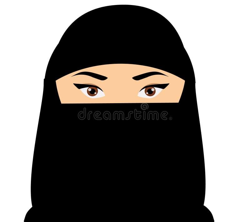 Μουσουλμανικό πρόσωπο γυναικών Αραβικό θηλυκό στο niquab επίσης corel σύρετε το διάνυσμα απεικόνισης ελεύθερη απεικόνιση δικαιώματος