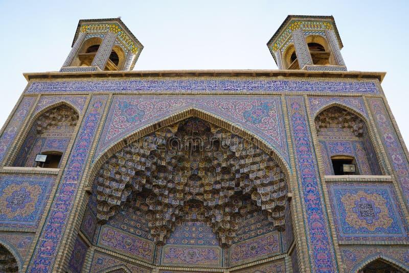 Μουσουλμανικό τέμενος του Nasir Al-Mulk ή ρόδινο μουσουλμανικό τέμενος στη Shiraz, Ιράν στοκ εικόνες με δικαίωμα ελεύθερης χρήσης