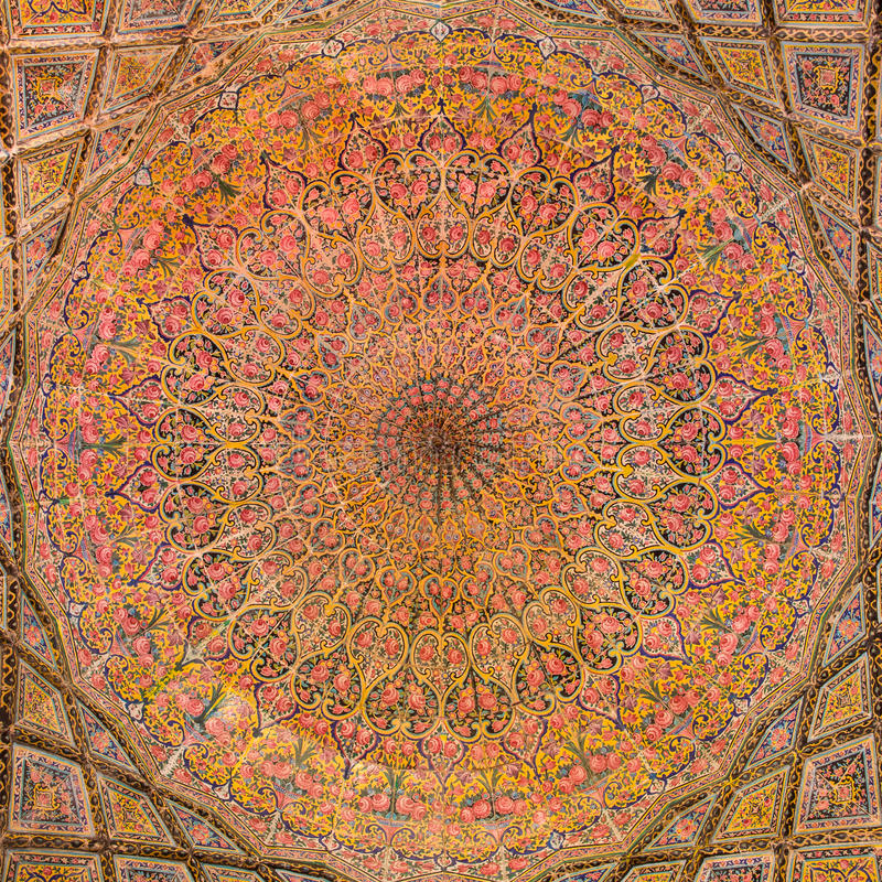 Μουσουλμανικό τέμενος του Nasir Al-Mulk σε Siraz, Ιράν στοκ εικόνες με δικαίωμα ελεύθερης χρήσης