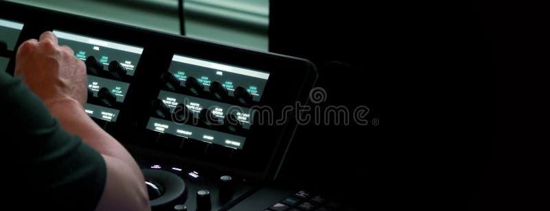 Μουτζουρωμένες εικόνες της μηχανής ελεγκτών telecine στοκ φωτογραφία