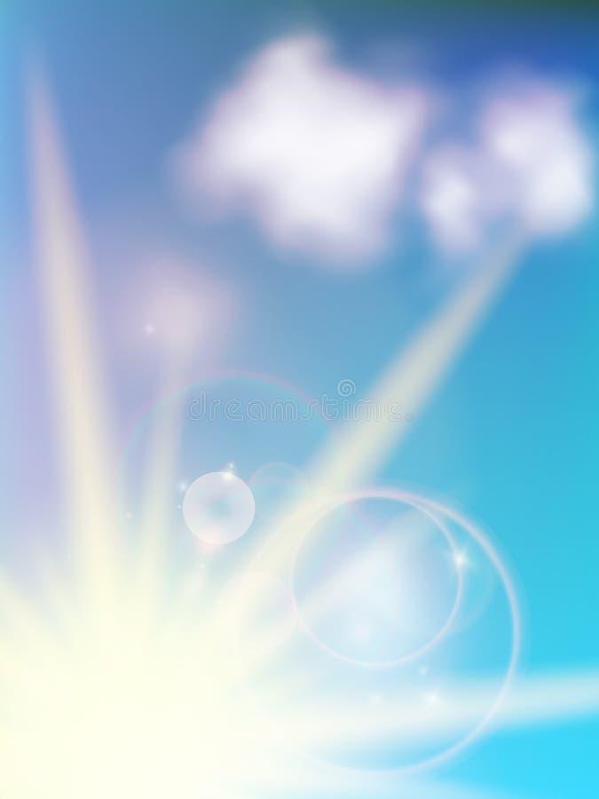 Μουτζουρωμένη θερινή άποψη με το φως του ήλιου. διανυσματική απεικόνιση