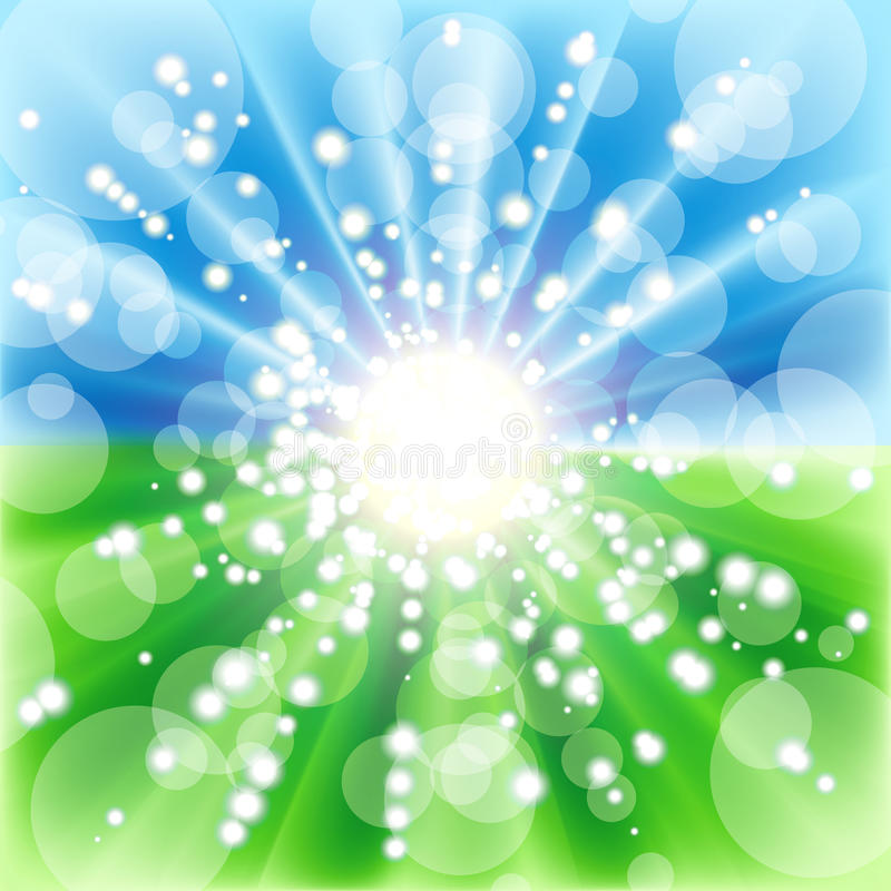 Μουτζουρωμένη θερινή όψη με το φως του ήλιου διανυσματική απεικόνιση