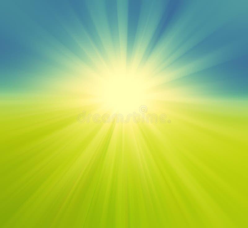 Μουτζουρωμένοι πράσινοι τομέας και μπλε ουρανός με την έκρηξη θερινών ήλιων, αναδρομική ΤΣΕ στοκ φωτογραφία με δικαίωμα ελεύθερης χρήσης
