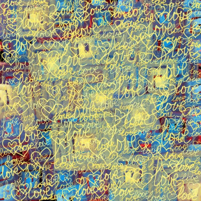 Μουτζουρωμένο ζωηρόχρωμο υπόβαθρο με τις λέξεις της αγάπης και των καρδιών απεικόνιση αποθεμάτων