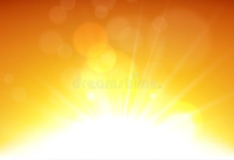 Μουτζουρωμένο πορτοκαλί υπόβαθρο ουρανού θερινής άποψης απεικόνιση αποθεμάτων