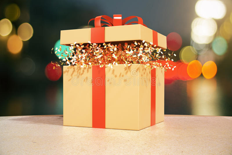 Μουτζουρωμένο υπόβαθρο φω'των κιβωτίων δώρων ελεύθερη απεικόνιση δικαιώματος