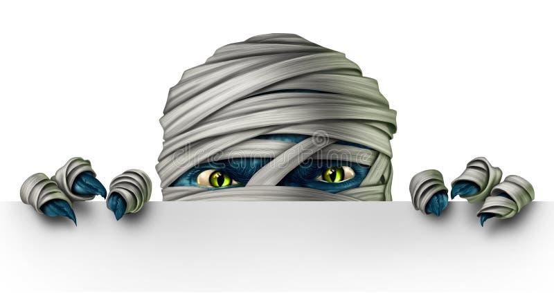 Μούμια που κρυφοκοιτάζει σε ένα σημάδι ελεύθερη απεικόνιση δικαιώματος
