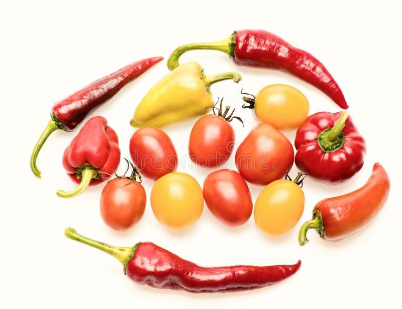 Μούρα και πιπέρια ντοματών στενό σε επάνω Λαχανικά θερινών συγκομιδών στοκ φωτογραφίες