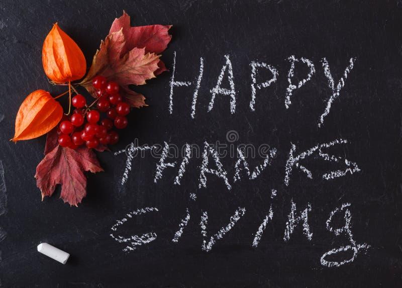 Μούρα πτώσης στο μαύρο υπόβαθρο με την ευτυχή ημέρα των ευχαριστιών λέξης στοκ εικόνες