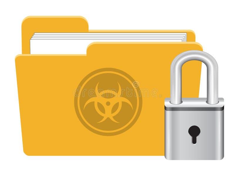 Μολυσμένος φάκελλος ιός με το διάνυσμα εικονιδίων κλειδαριών κύριων κλειδιών ελεύθερη απεικόνιση δικαιώματος