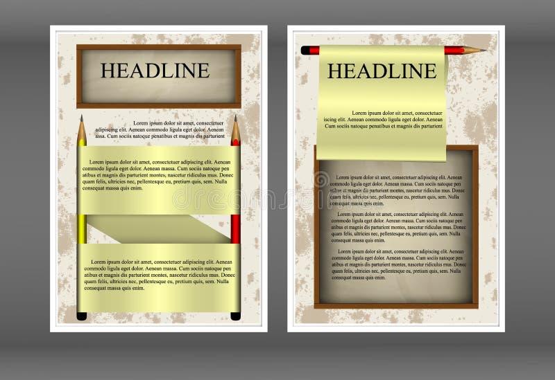 Μολύβια και έγγραφο προτύπων φυλλάδιων απεικόνιση αποθεμάτων