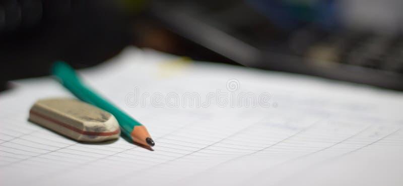 Μολύβι και γόμα στοκ εικόνες