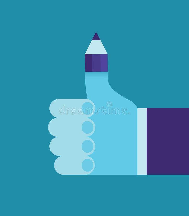 Μολύβι στο δάχτυλο αντίχειρων του χεριού επιχειρηματιών ` s, καλό ξεκίνημα, επιχειρησιακή έννοια ελεύθερη απεικόνιση δικαιώματος