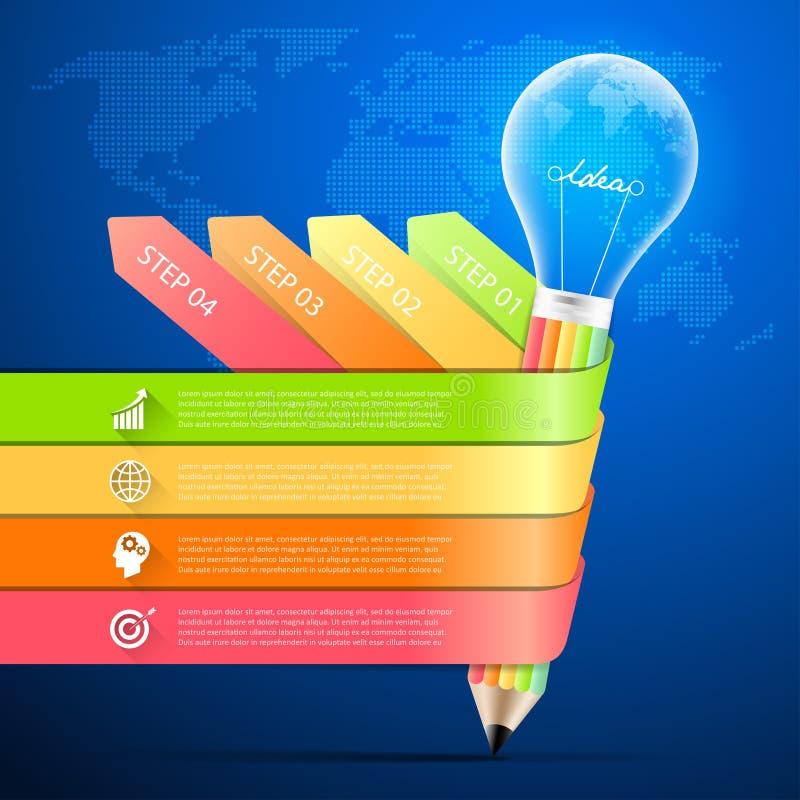 Μολύβι σχεδίου με infographic 4 επιλογές lightbulb, επιχειρησιακή έννοια infographic ελεύθερη απεικόνιση δικαιώματος