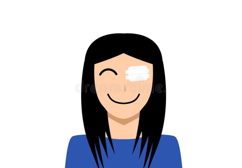Μπάλωμα ασβεστοκονιάματος ιατρικής στο μάτι πληγών τραυματισμών γυναικών ελεύθερη απεικόνιση δικαιώματος