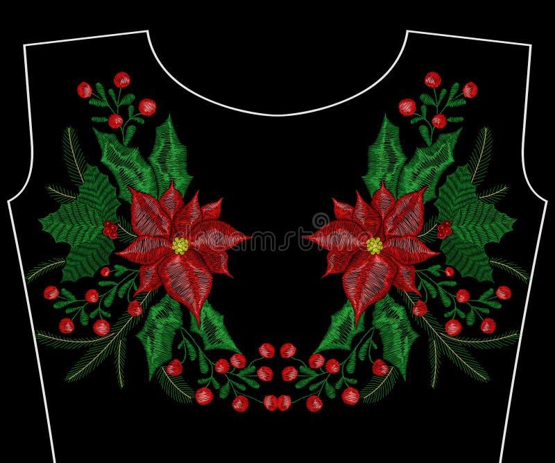 Μπάλωμα κεντητικής Χριστουγέννων, στεφάνι με το γκι για την ενδυμασία, neckline μόδας διανυσματική απεικόνιση