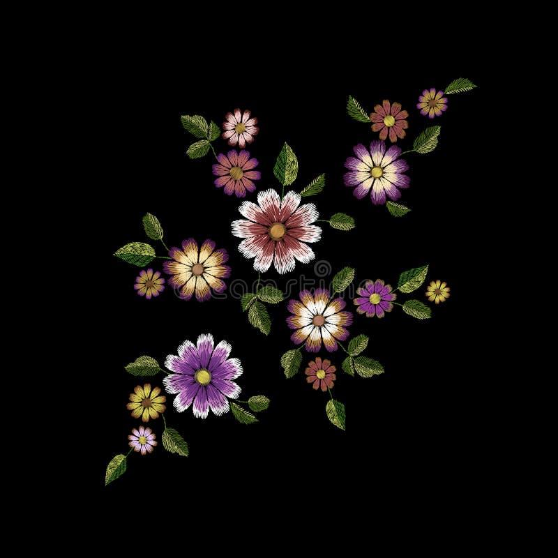 Μπάλωμα μόδας θερινών λουλουδιών κεντητικής Ρεαλιστικό πρότυπο σχεδίου σύστασης Floral περίκομψη τυπωμένη ύλη ιματισμού gerbera μ απεικόνιση αποθεμάτων
