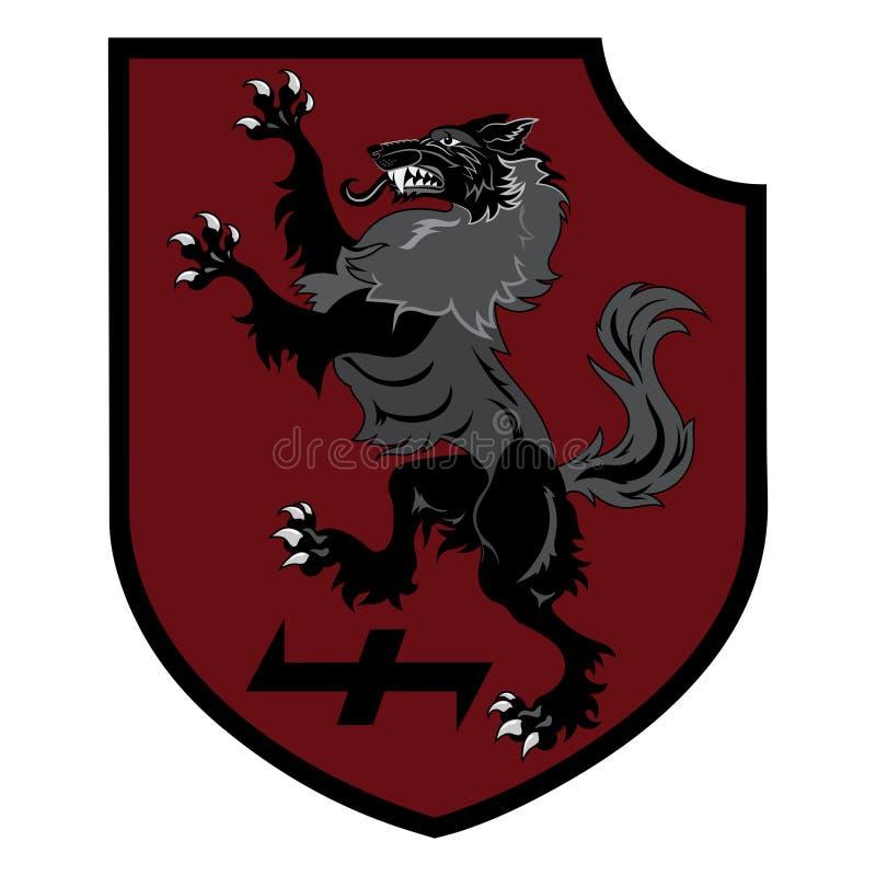 Μπάλωμα σχεδίου Εραλδική ασπίδα με ένα Werewolf, τιμόνι του δέου και του ρούνου Wolfsangel διανυσματική απεικόνιση