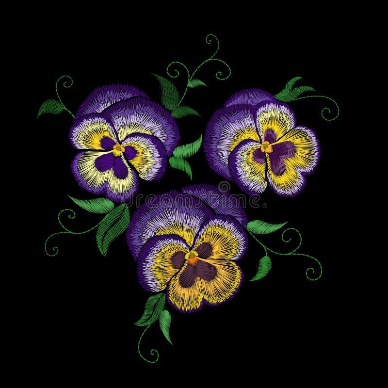 Μπάλωμα λουλουδιών κεντητικής Pansy Επίδραση σύστασης βελονιών Παραδοσιακή floral διακόσμηση μόδας Πορφυρή ιώδης κίτρινη μαύρη πλ απεικόνιση αποθεμάτων