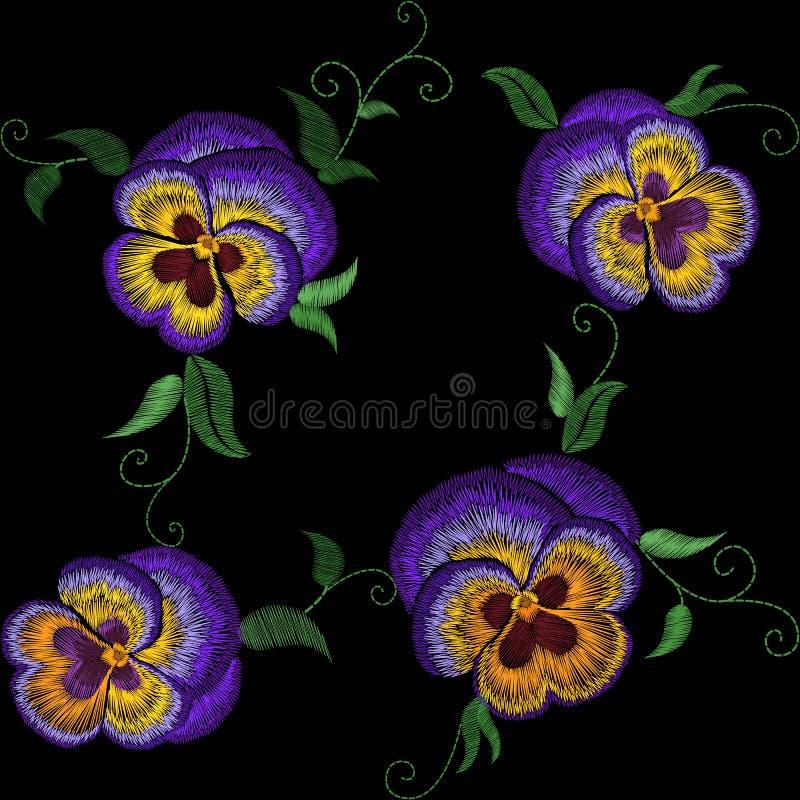 Μπάλωμα λουλουδιών κεντητικής Pansy Επίδραση σύστασης βελονιών Παραδοσιακό floral decorationseamless σχέδιο μόδας Πορφυρός ιώδης  ελεύθερη απεικόνιση δικαιώματος