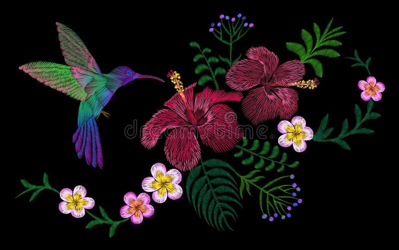 Μπάλωμα ρύθμισης κεντητικής λουλουδιών της Χαβάης Hibiscus plumeria διακοσμήσεων τυπωμένων υλών μόδας φύλλα φοινικών Τροπικό εξωτ απεικόνιση αποθεμάτων