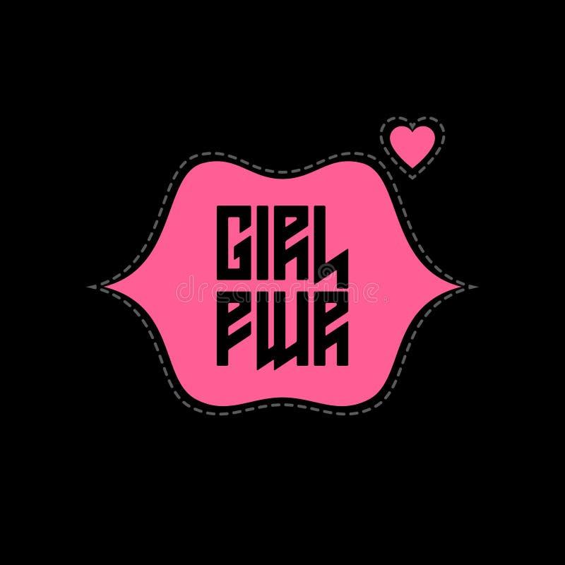 Μπάλωμα δύναμης κοριτσιών με τα χείλια και την καρδιά Ενδυμασίες μπλουζών ελεύθερη απεικόνιση δικαιώματος