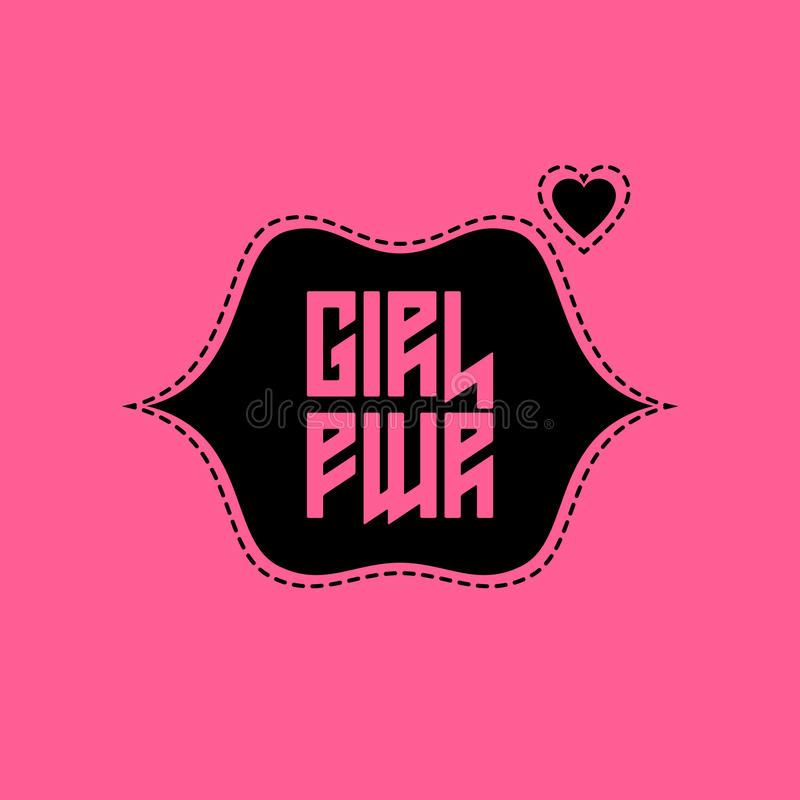 Μπάλωμα δύναμης κοριτσιών με τα χείλια και την καρδιά Τυπωμένη ύλη ενδυμασιών μπλουζών για απεικόνιση αποθεμάτων