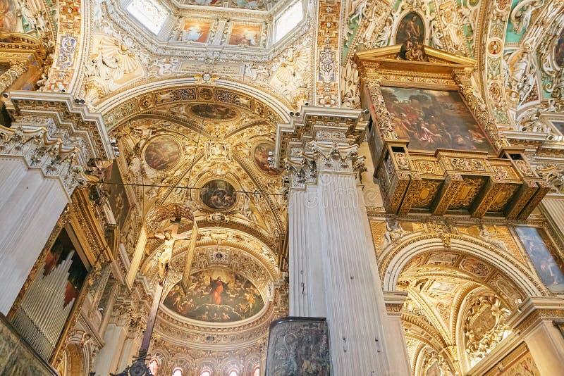 Μπέργκαμο, Ιταλία - 18 Αυγούστου 2017: Di Σάντα Μαρία Maggiore, περίκομψο χρυσό εσωτερικό βασιλικών του Μπέργκαμο ` s στοκ εικόνες με δικαίωμα ελεύθερης χρήσης