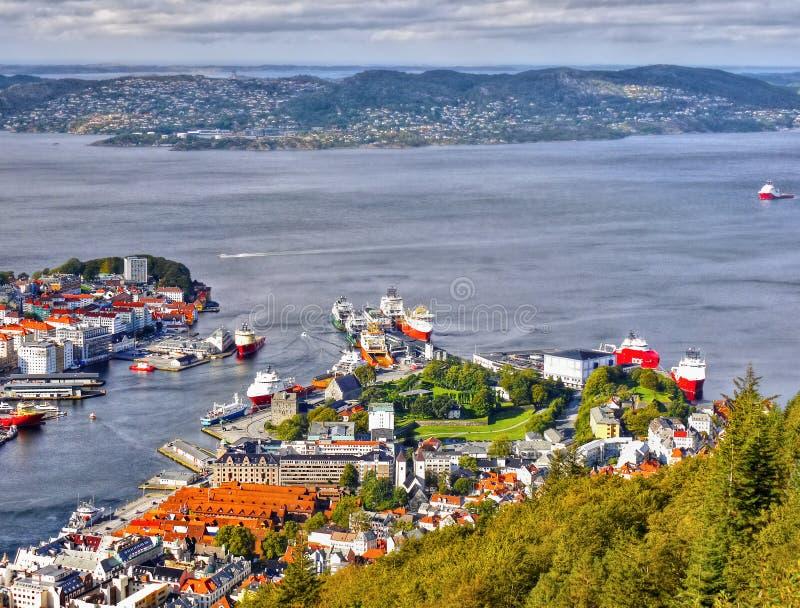 Μπέργκεν, άποψη Floyen, λιμάνι, Νορβηγία στοκ φωτογραφίες
