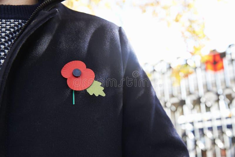 Μπέρμιγχαμ, UK - 6 Νοεμβρίου 2016: Κλείστε επάνω του ατόμου που φορά την παπαρούνα ημέρας ενθύμησης στοκ εικόνες