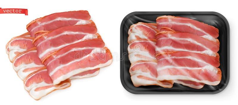 Μπέϊκον, κρέας στη συσκευασία Τρισδιάστατος διανυσματικός ρεαλιστικός τροφίμων ελεύθερη απεικόνιση δικαιώματος