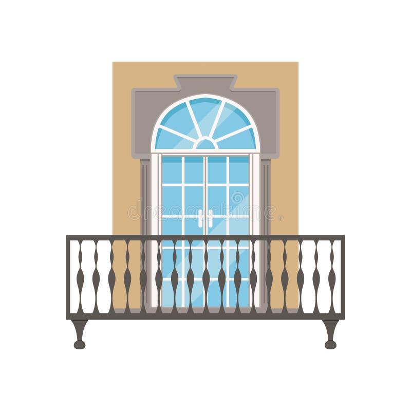 Μπαλκόνι με το κιγκλίδωμα επεξεργασμένου σιδήρου, κλασσική διανυσματική απεικόνιση προσόψεων σπιτιών σε ένα άσπρο υπόβαθρο ελεύθερη απεικόνιση δικαιώματος
