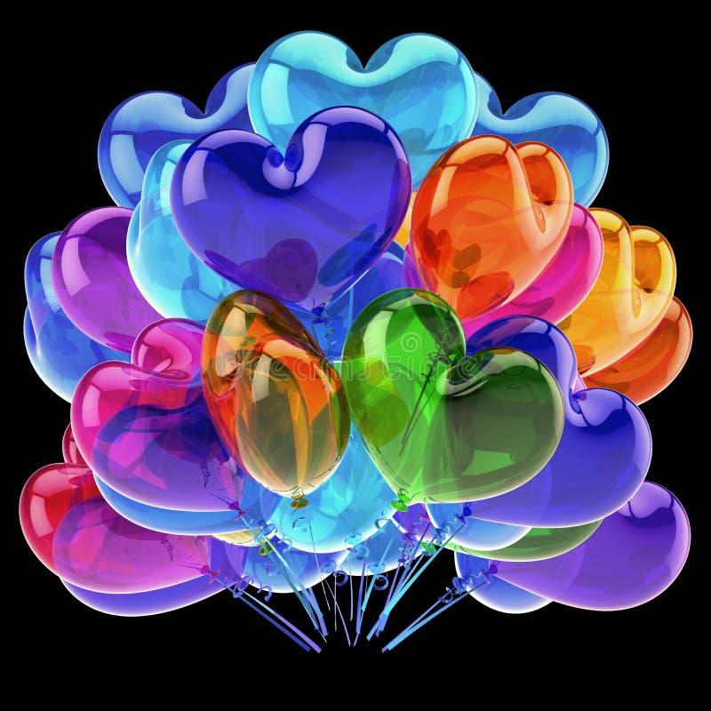 Μπαλονιών ζωηρόχρωμη κομμάτων έννοια εικονιδίων καρδιών μπλε πορτοκαλιά πράσινη ελεύθερη απεικόνιση δικαιώματος
