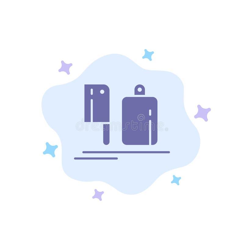 Μπαλτάς, κουζίνα, αρχιμάγειρας, προετοιμασία, μπλε εικονίδιο τροφίμων στο αφηρημένο υπόβαθρο σύννεφων ελεύθερη απεικόνιση δικαιώματος