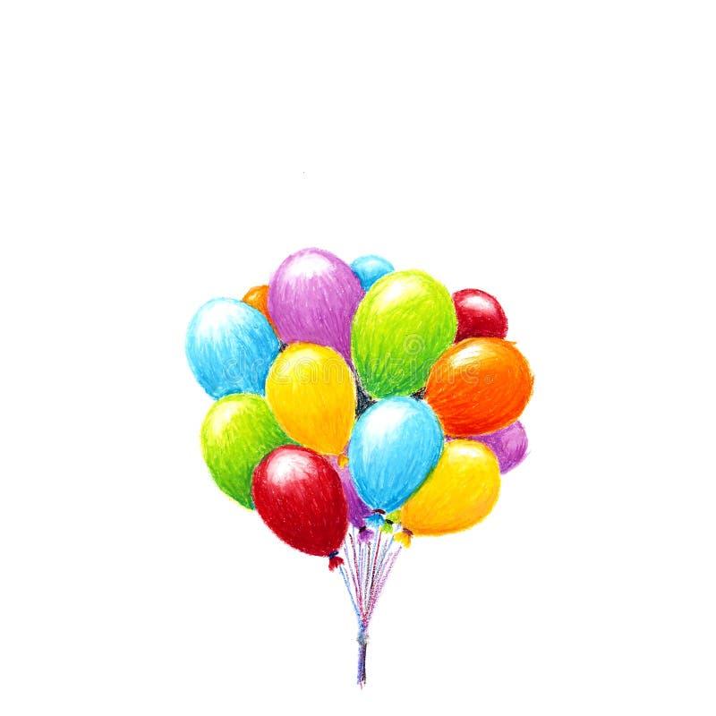 Μπαλόνια αέρα, σχέδιο μολυβιών κραγιονιών, που απομονώνεται στο λευκό ελεύθερη απεικόνιση δικαιώματος