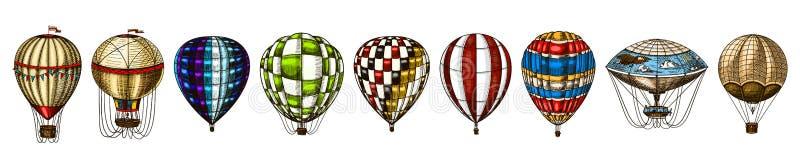 Μπαλόνια ζεστού αέρα Διανυσματικά αναδρομικά πετώντας αεροσκάφη με τα διακοσμητικά στοιχεία Μεταφορά προτύπων για το ρομαντικό λο απεικόνιση αποθεμάτων