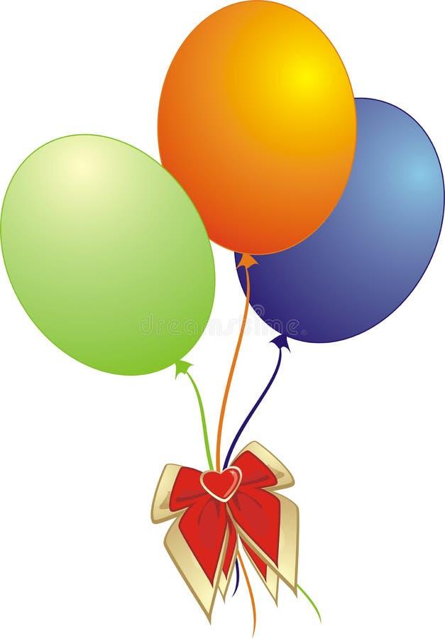 μπαλόνια ζωηρόχρωμα τρία διανυσματική απεικόνιση