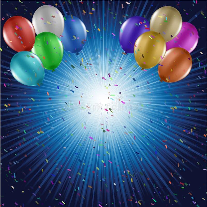 Μπαλόνια και ανασκόπηση κομφετί απεικόνιση αποθεμάτων