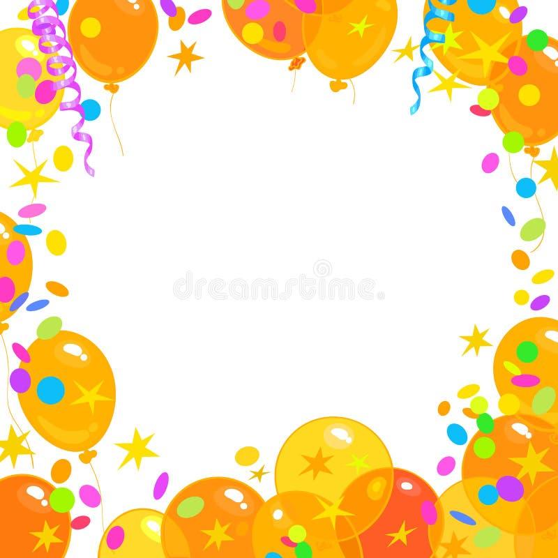 Μπαλόνια, κομφετί, ελικοειδές πλαίσιο με τη θέση για το κείμενο background colors holiday red yellow ελεύθερη απεικόνιση δικαιώματος