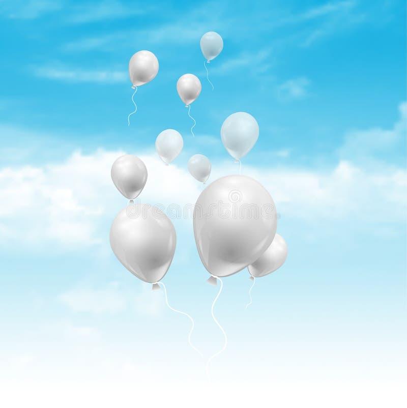 Μπαλόνια που επιπλέουν στο μπλε ουρανό με τα χνουδωτά άσπρα σύννεφα απεικόνιση αποθεμάτων