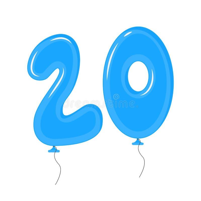 Μπαλόνια χρώματος με τους αριθμούς είκοσι στοιχεία διακοσμήσεων καθορισμένα r απεικόνιση αποθεμάτων