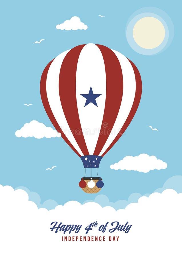 Μπαλόνι ζεστού αέρα στις 4 Ιουλίου κινούμενων σχεδίων διανυσματική απεικόνιση