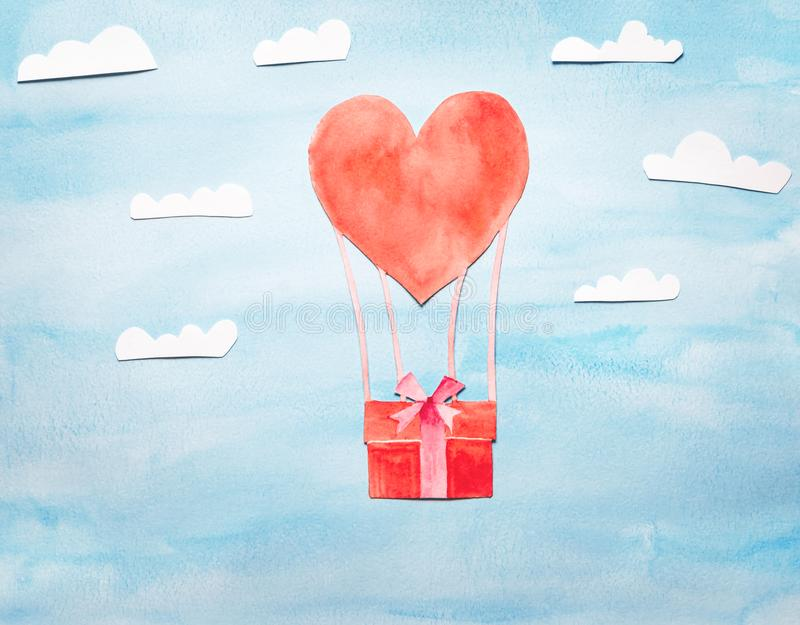 Μπαλόνι ζεστού αέρα υπό μορφή καρδιάς στοκ φωτογραφίες
