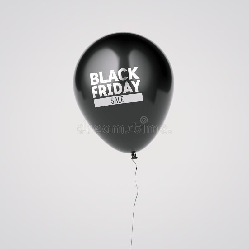 Μπαλόνι με το μαύρο σημάδι πώλησης Παρασκευής τρισδιάστατη απόδοση απεικόνιση αποθεμάτων