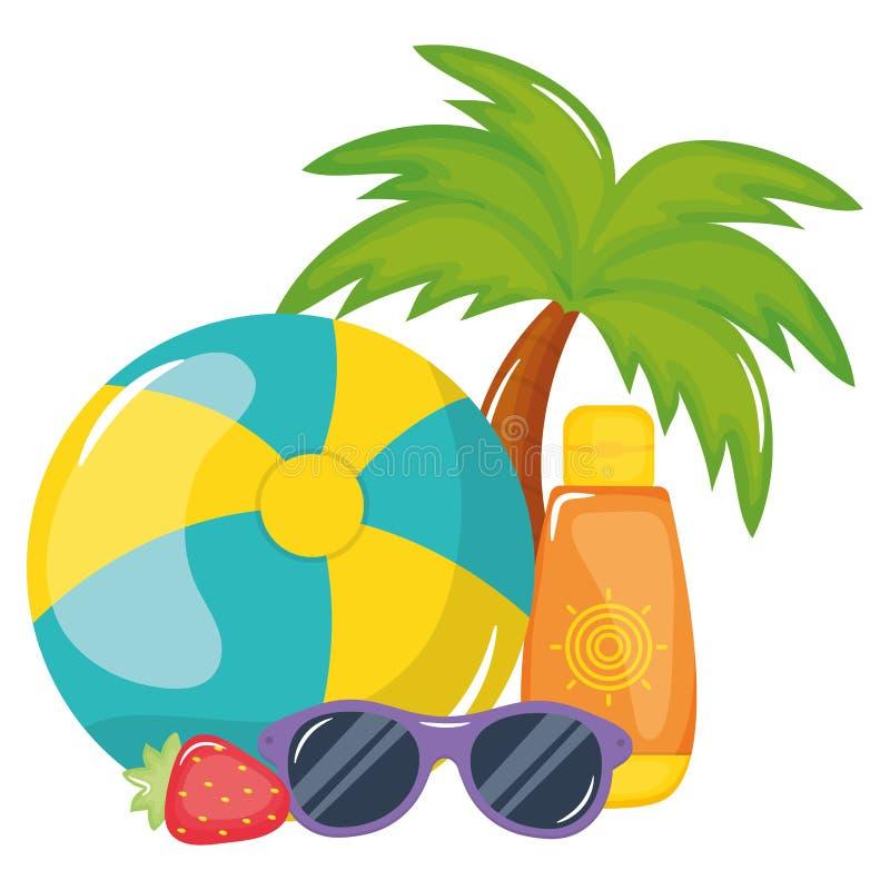 Μπαλόνι παραλιών με ηλιακά blocker και τα γυαλιά ηλίου διανυσματική απεικόνιση